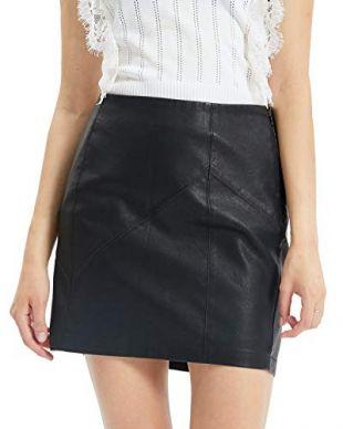Fahsyee Womens Leather Skirt, Bodycon Faux Mini High Waist Sexy Casual Zip PU Slim Pencil Plus Black Size S