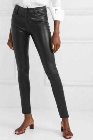 Nouveau pantalon skinny en cuir noir 4 poches Véritable pantalons en cuir d'agneau VENTE Bas