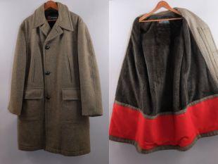vintage McGregor Mens Wool Overcoat Faux Fur Lining Taille 40