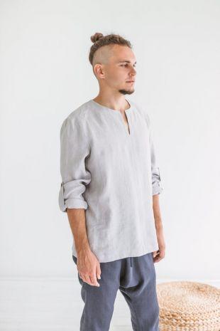 Chemise en lin homme manches longues, chemise homme gris, lin de chemise ample, chemise en lin pur naturel, chemise en tissu naturel, DIFFERENT COLORS