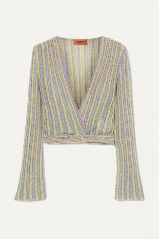 Cropped Metallic Striped Crochet-knit Top