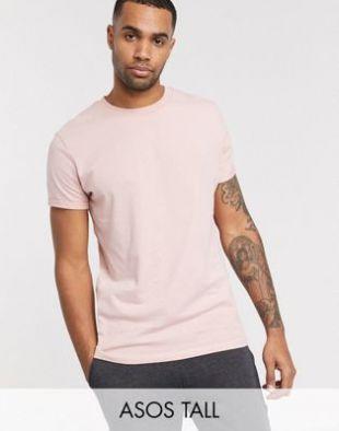 ASOS DESIGN Tall - T-shirt ras de cou et manches roulées - Rose | ASOS