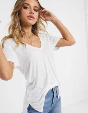 ASOS DESIGN - T-shirt oversize à col V devant et dans le dos - Blanc | ASOS