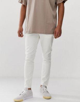 ASOS DESIGN - Pantalon chino skinny longueur cheville - Blanc cassé   ASOS