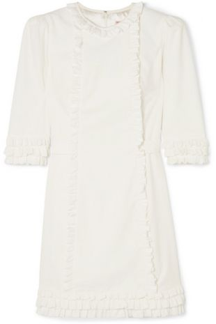 White Ruffle Corduroy Dress