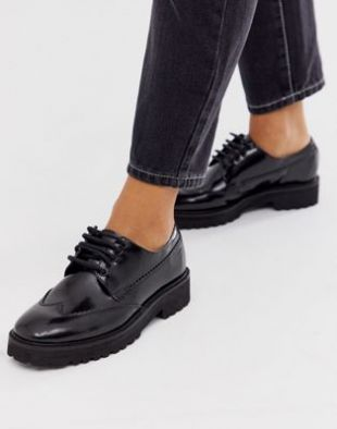 Metaphor leather square toe chunky lace up flat shoes in black