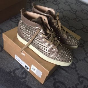 100% AUTHENTIC CHRISTIAN LOUBOUTIN GOLD SNEAKERS CHROME SPIKES