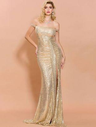 Missord Off Shoulder Split Thigh Sequin Prom Dress