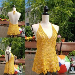 VENTE: Crochet coton dentelle haut / Sun Shine de couleur jaune / taille S / One of A Kind / prêt à expédier