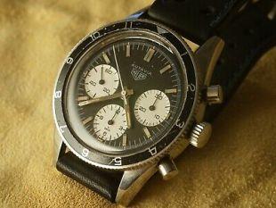 Heuer Autavia Vintage Black Face 1960's Chronograph Wrist Watch