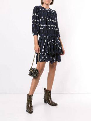 Navy Print dotted dress