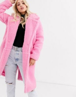 Missguided borg duster coat in pink | ASOS