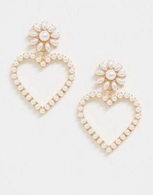 ASOS DESIGN earrings with pearl embellished heart drop in gold tone | ASOS