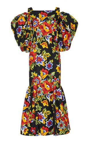 Cold-Shoulder Floral Cotton And Silk-Blend Dress by Carolina Herrera | Moda Operandi