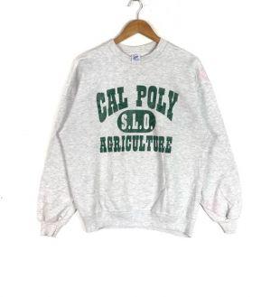 vintage 90s Sweatshirt Imprimé Big Logo Cal Poly Agriculture vintage Super Sweat American vintage Style Taille De l'habillement Grande Taille