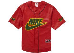 Supreme X Nike FW19 Red Leather Baseball Jersey