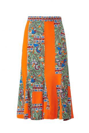 Orange Printed Skirt