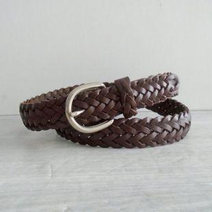 ceinture tressée en cuir brun, unisexe XL, ceinture en cuir tressé vintage, ceinture en cuir vintage, ceinture en cuir brun vintage, ceinture en cuir boho