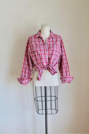 vintage 1990s L.L.Bean Pink Plaid Shirt / S