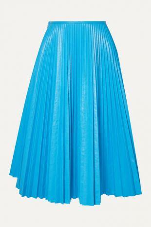Blue Pleated Leather Skirt