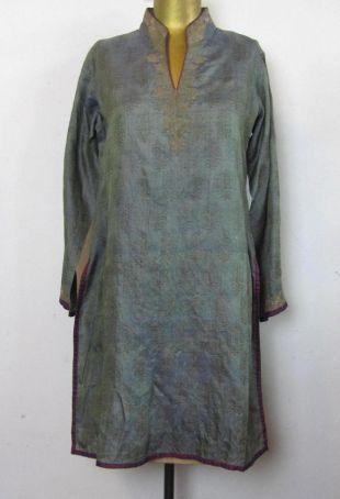 Vintage Silk Gold Metallic Embroidered Kaftan Shirt Blouse Dress Paisley Boteh Print Purple trim smokey blue India Central Asia Tunic