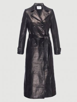 Leather Trench Coat in Noir