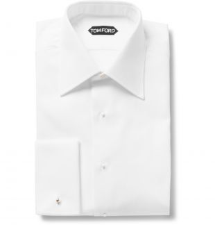White White Slim-Fit Bib-Front Double-Cuff Cotton Tuxedo Shirt