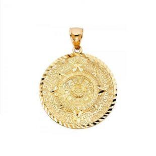 10K massif calendrier aztèque or jaune pendentif - soleil médaille collier breloque