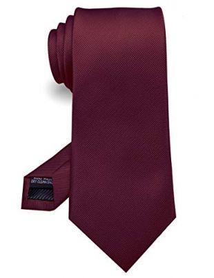 RBOCOTT Silk Maroon Tie Business Wedding Formal Necktie for Men (Maroon)