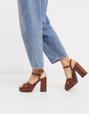 Chaussures façon croco à talons et semelles plateforme Marron
