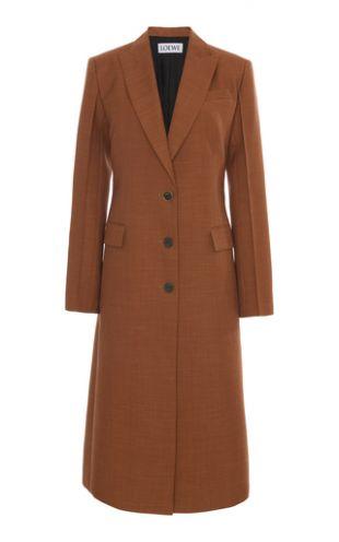 Brown  Peaked Wool Overcoat