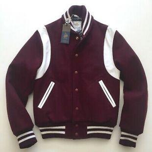Golden Bear Burgundy Melton Wool Varsity Jacket