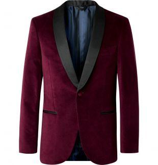 Purple Burgundy Hugo Grosgrain-Trimmed Cotton-Velvet Tuxedo Jacket
