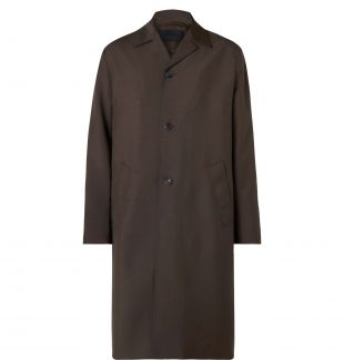 Brown Logo-Appliquéd Mohair and Wool-Blend Coat