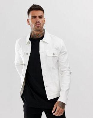 ASOS DESIGN - Veste en jean skinny style western - Blanc | ASOS