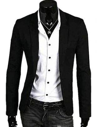 [$34.74] Men's Daily Spring / Fall Regular Blazer, Solid Colored V Neck Long Sleeve Linen Light Blue / White / Navy Blue / Business Casual / Slim