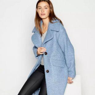 Principles - Pale Blue Boucle Cocoon Coat