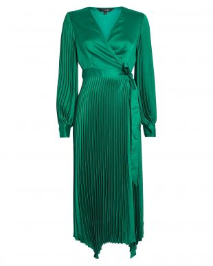 Green Pleated Wrap Dress