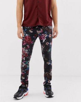 ASOS DESIGN - Pantalon à fleurs très ajusté   ASOS
