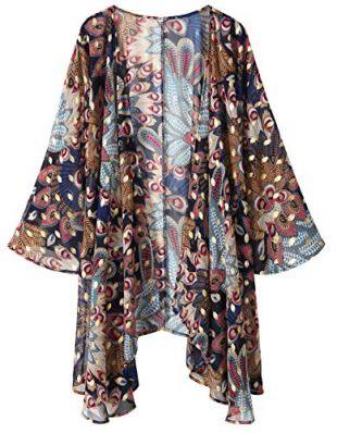 imprim/é Rayonne Cardigan Blouses Lofbaz Femmes Kimono de