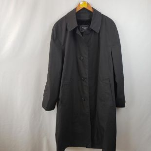 Botany 500 Hommes vintage Long Sleeve Button Front Weatherproof Trench Coat Taille M/L Noir