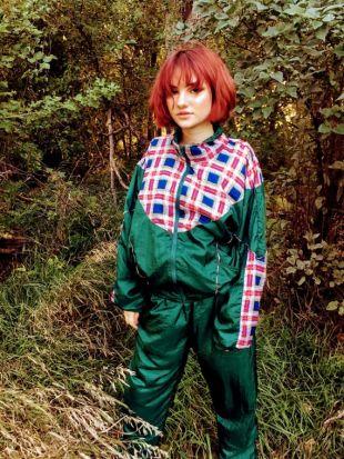 Vintage 80's Track Jogging Suit Nylon Vert Rouge Plaid