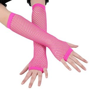 Ayliss 2 Pairs Long+Short Fishnet Gloves 5 Colors Available Rose Red