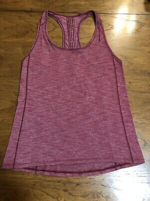 Lululemon Hotwave Tank Heathered Rosewood Micro Stripe Size 4-6 Guc