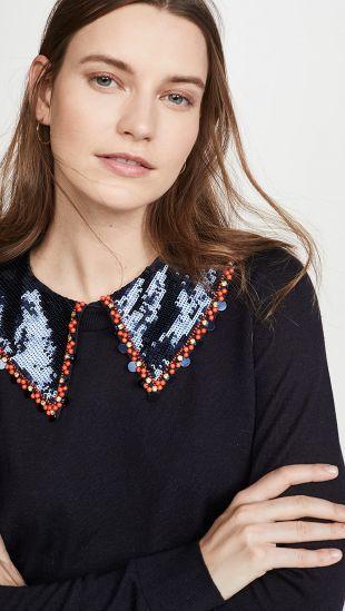 Embellished Collar Pullover