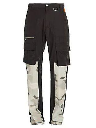 Grey Camo Panel Black Cargo Pants