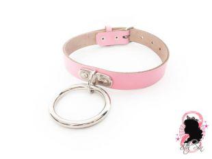 Pink D et O Ring Choker, Pink D Ring Choker, Pink O Ring Choker, Pink O Ring Collar, Pink D Ring Collar, Pink D Ring Collar, Pink Slave Collar, BDSM Collar