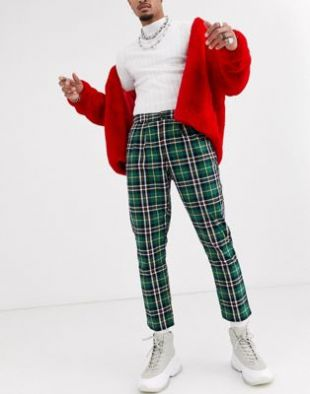 ASOS DESIGN cigarette pants with pleats in green plaid | ASOS