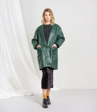 GREEN LEATHER JACKET femme manteau vintage Trench midi chute surdimensionnée / Moyen