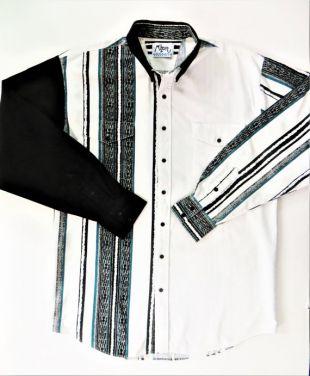Chemise western des années 90, Roper Rodeo Blue, Black White Teal Stripe Color Block Cotton, Flap Pockets, XL 1XT, Big Tall Man's Shirt